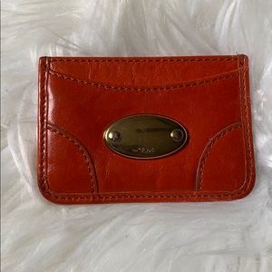 CHLOÉ Rust-Red Leather Card Holder